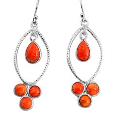 7.97cts red copper turquoise 925 sterling silver dangle earrings jewelry p91536