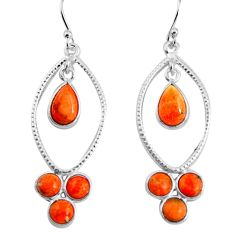 7.97cts red copper turquoise 925 sterling silver dangle earrings jewelry p91537