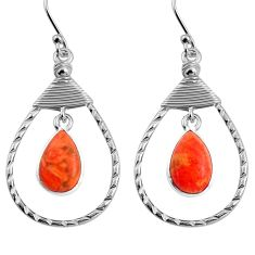 8.44cts red copper turquoise 925 sterling silver earrings jewelry p92770