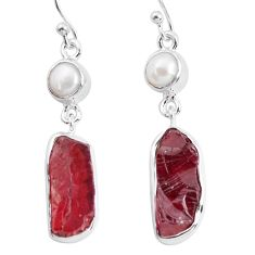 16.46cts red garnet rough pearl 925 sterling silver dangle earrings p51845