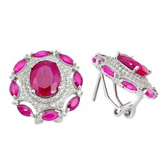 14.41cts red ruby (lab) topaz 925 sterling silver stud earrings jewelry c1865