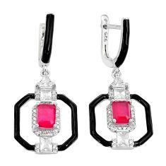 6.53cts red ruby (lab) topaz enamel 925 sterling silver dangle earrings c2901