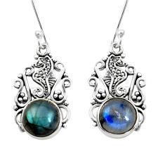 9.11cts seahorse natural blue labradorite 925 silver seahorse earrings p50695