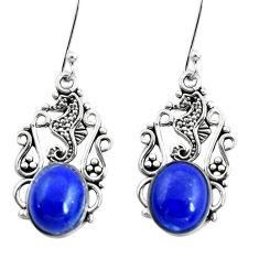 8.80cts seahorse natural blue lapis lazuli 925 silver seahorse earrings p50686