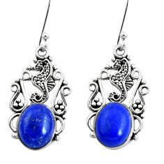 8.80cts seahorse natural blue lapis lazuli 925 silver seahorse earrings p50687