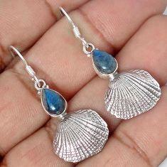 SEASHELL CANADIAN BLUE LABRADORITE 925 SILVER DANGLE EARRINGS JEWELRY G82292