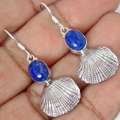 SEASHELL NATURAL BLUE LAZULI LAPIS 925 SILVER DANGLE EARRINGS JEWELRY G82289