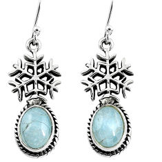6.30cts snowflake natural blue aquamarine 925 silver dangle earrings p54905