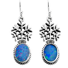 4.02cts snowflake natural doublet opal australian 925 silver earrings p54914
