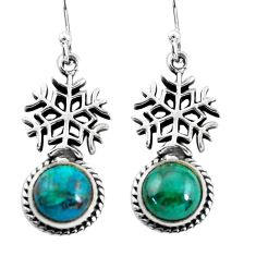6.58cts snowflake natural green chrysocolla 925 silver dangle earrings p54910