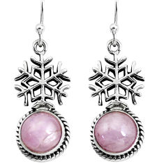 6.58cts snowflake natural pink kunzite 925 silver dangle earrings jewelry p54906
