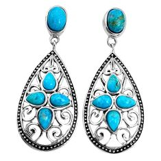 7.24cts southwestern blue arizona mohave turquoise 925 silver earrings a96751