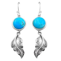 9.10cts southwestern blue arizona mohave turquoise 925 silver earrings c4843