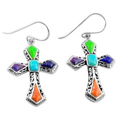 9.54cts southwestern multicolor copper turquoise 925 silver cross earrings c4516