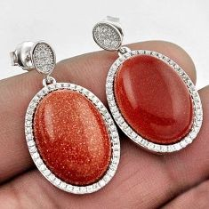 STUNNING NATURAL BROWN GOLDSTONE TOPAZ 925 SILVER DANGLE EARRINGS JEWELRY H14117