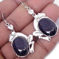 SUBLIME NATURAL BLUE GOLDSTONE PEARL 925 SILVER FROG EARRINGS JEWELRY H14865