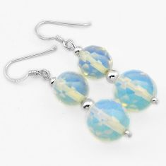 SUPERB NATURAL WHITE OPALITE 925 STERLING SILVER DANGLE EARRINGS JEWELRY H40224