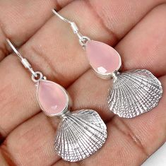 SUPERIOR 925 SILVER SEASHELL DANGLE EARRINGS NATURAL PINK CHALCEDONY PEAR G82293