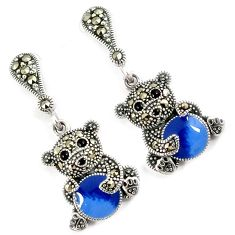 Swiss fine marcasite multi color enamel teddy bear 925 silver earrings h48998