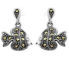 3.89gms swiss marcasite 925 sterling silver fish earrings jewelry c4555