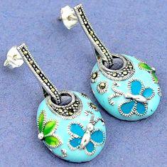 SWISS MARCASITE BLUE GREEN ENAMEL 925 SILVER BUTTERFLY DANGLE EARRINGS H4490