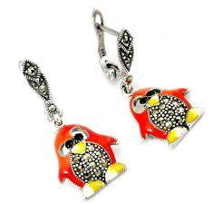 Swiss marcasite multicolor enamel 925 sterling silver penguin earrings h48981
