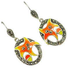Swiss marcasite orange yellow enamel 925 sterling silver dangle earrings h55776