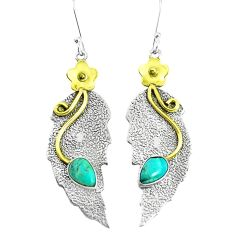 Victorian arizona mohave turquoise 925 silver two tone dangle earrings p50174