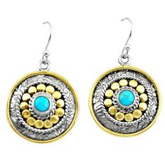 1.88cts victorian arizona mohave turquoise 925 silver two tone earrings p55673