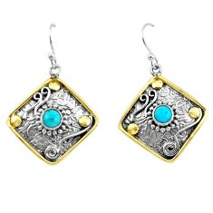 2.10cts victorian arizona mohave turquoise 925 silver two tone earrings p55678