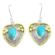 Victorian arizona mohave turquoise 925 silver two tone heart earrings p37746