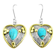 Victorian arizona mohave turquoise 925 silver two tone heart earrings p37747
