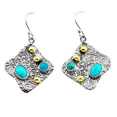 5.12cts victorian blue arizona mohave turquoise silver two tone earrings p56191