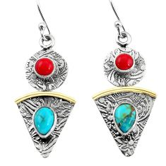 4.26cts victorian blue arizona mohave turquoise silver two tone earrings p56211
