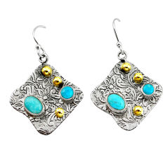 5.30cts victorian blue arizona mohave turquoise silver two tone earrings p56274