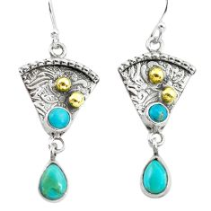 4.92cts victorian blue arizona mohave turquoise silver two tone earrings p56296
