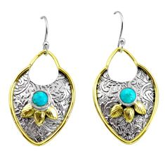 2.19cts victorian blue arizona mohave turquoise silver two tone earrings p56412