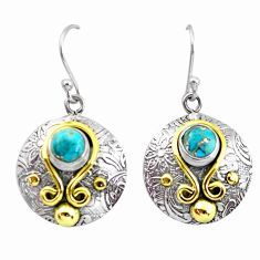 2.10cts victorian blue copper turquoise 925 silver two tone earrings p56174