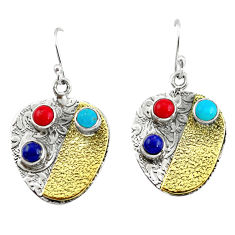 5.51cts victorian fine blue turquoise 925 silver two tone dangle earrings p56326