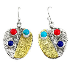 5.51cts victorian fine blue turquoise 925 silver two tone dangle earrings p56335