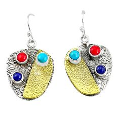 5.62cts victorian fine blue turquoise 925 silver two tone dangle earrings p56338