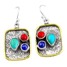 6.32cts victorian fine blue turquoise 925 silver two tone dangle earrings p56367