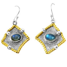 3.16cts victorian natural blue labradorite 925 silver two tone earrings p37778