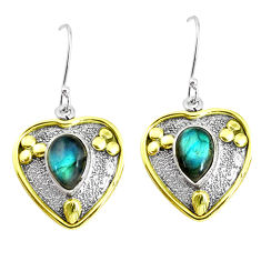 5.83cts victorian natural blue labradorite 925 silver two tone earrings p50206