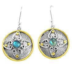 2.11cts victorian natural blue labradorite 925 silver two tone earrings p50220