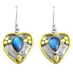 Victorian natural blue labradorite 925 silver two tone heart earrings p37748