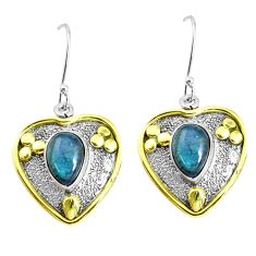 Victorian natural blue labradorite 925 silver two tone heart earrings p37749