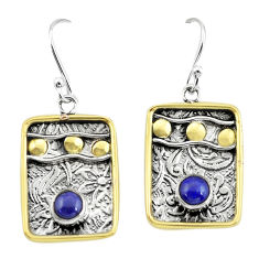 2.01cts victorian natural blue lapis lazuli 925 silver two tone earrings p55709