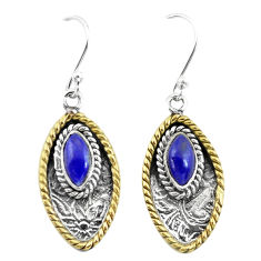 4.84cts victorian natural blue lapis lazuli 925 silver two tone earrings p55743