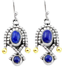 5.30cts victorian natural blue lapis lazuli 925 silver two tone earrings p56130
